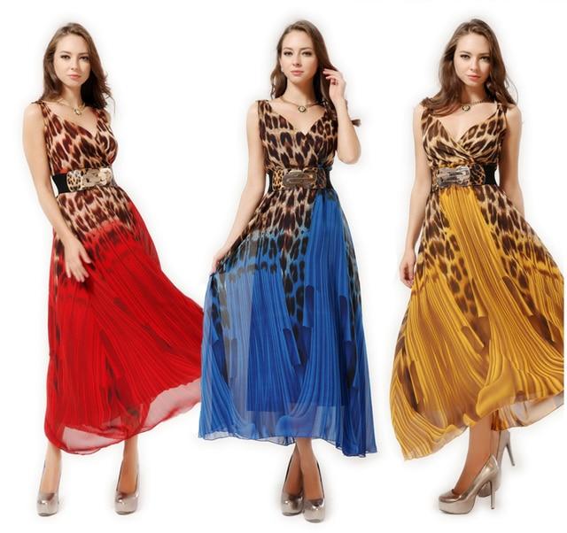 023981068e 2014 New Bohemia full dress leopard print chiffon special occasion dress  beach dress long evening summer maxi dress S M L