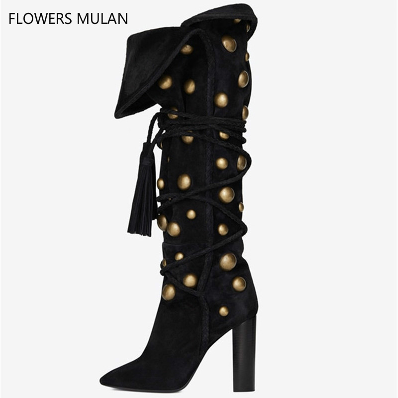 New Belts Laces Up Studded Boots Thick Sole Motorcycle Boots Black Suede Women Knee High Boots Thick Chunky Heels Female black suede studded mini skirt