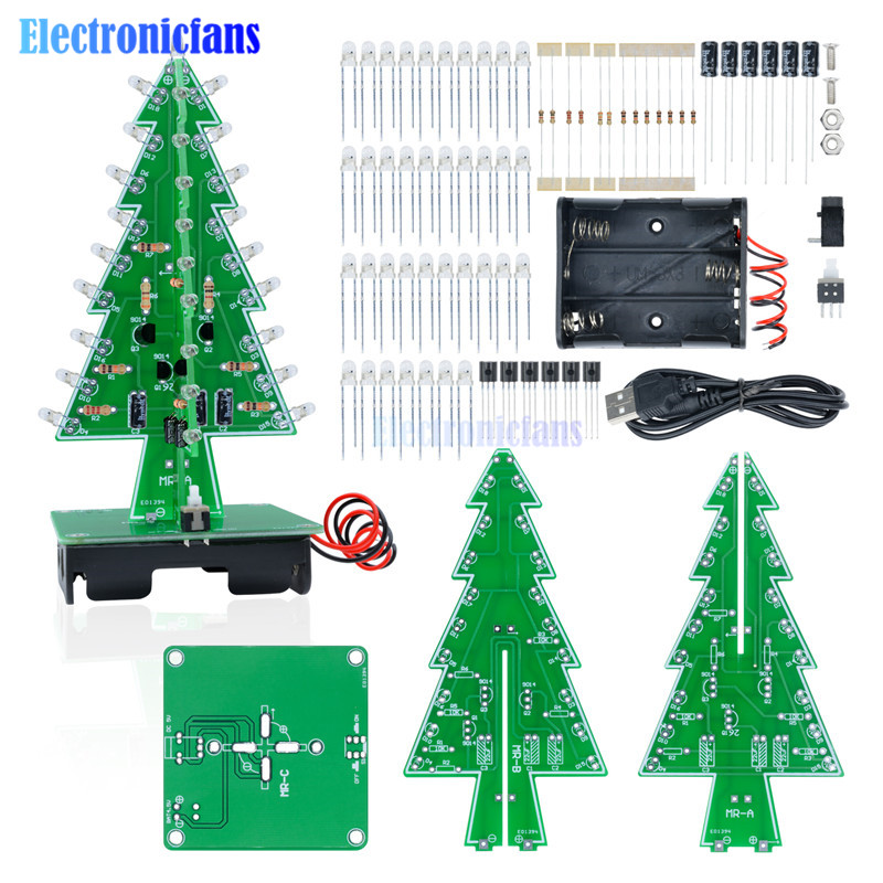 DIY 3D Christmas Kit Flashing Light LED Circuit 3 Colors Xmas Tree Gift