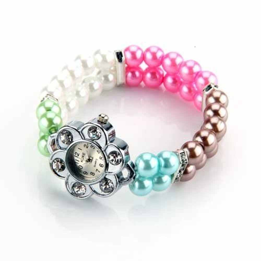 Metal Crystal Rhinestone Pearl Bead Bracelet Stretch Elastic Wrist Watch Fashion
