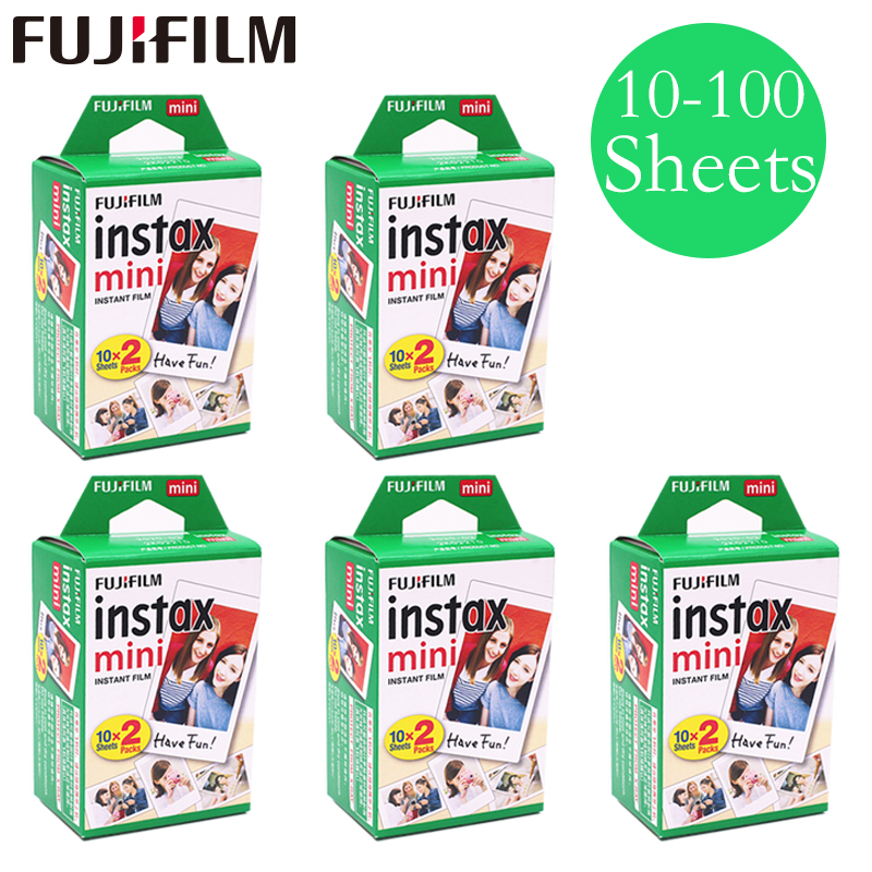 20-100 hojas Fuji Fujifilm instax mini 9 8 películas de borde blanco para instant mini 9 8 7 s 25 50 s 9 90 Cámara Sp-2 papel fotográfico