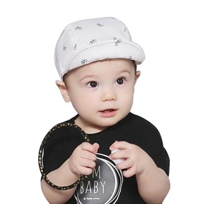 Детские, для малышей летние шапки с мягкими полями синий/белый съемный милый мультфильм печати Защита от солнца Hat
