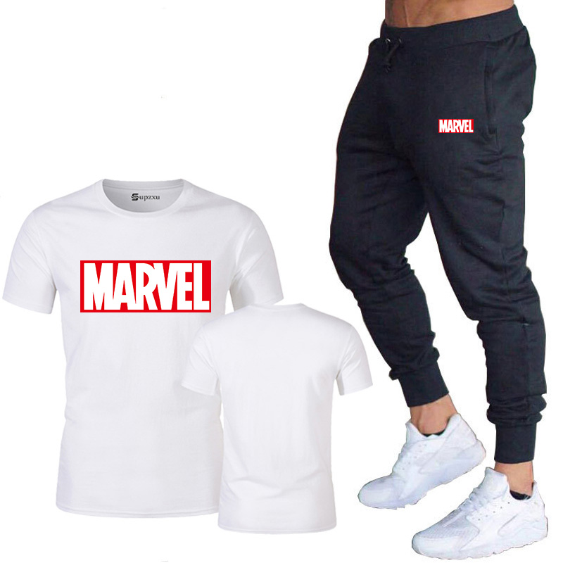 HTB1EAszJYrpK1RjSZTEq6AWAVXal New summer hot brand sale men's MARVEL suit T shirt + pants two piece casual sportswear printing shirts gym fitness pants 2019