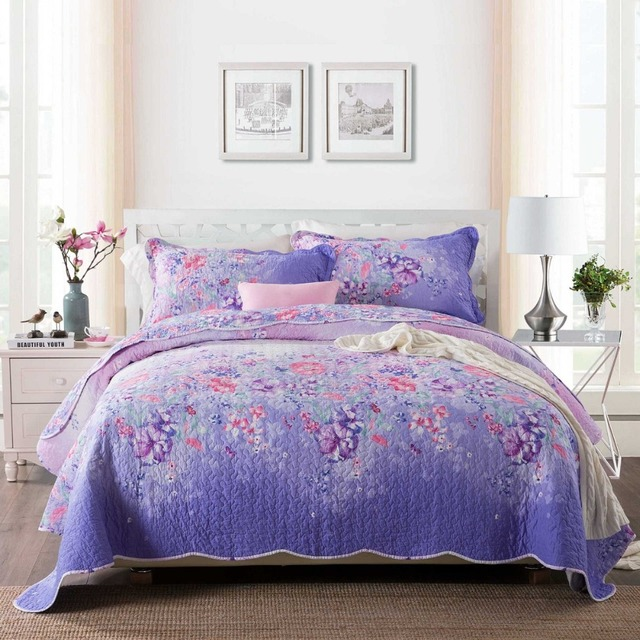 bedspread bedding octorose quilts quilt coverlets set oversize comforter purple royalty and wedding
