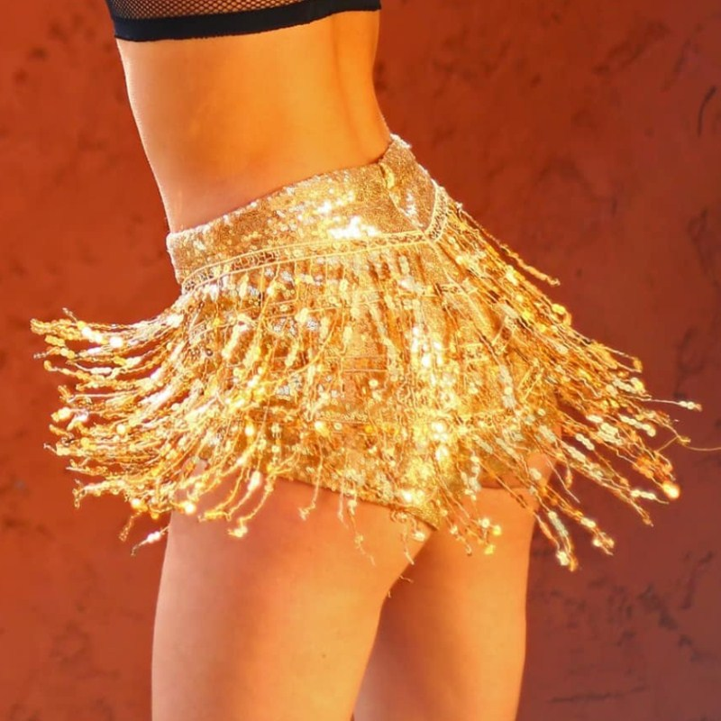 WEANIA Ladies Sexy Club Rock Punk Clothes Women Sequined Tassel Zipper Gold Silver Red Black   Shorts   Female Sexy Party   Shorts