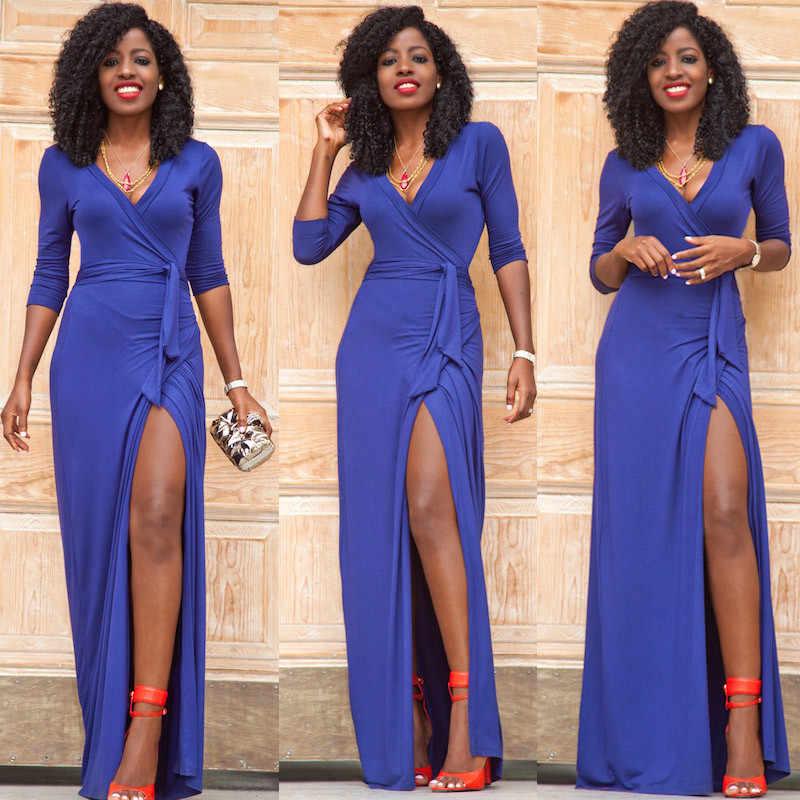 Модное Длинное платье с глубоким v-образным вырезом и рукавом три четверти на шнуровке, женское вечернее платье макси-длины, сексуальное