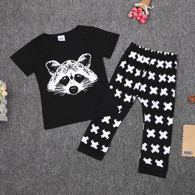 2017 Primavera verão impressões Raposa roupas de bebê T-shirt + calças 2 pcs conjunto de roupas de bebê 0-2 anos de bebê roupas menino