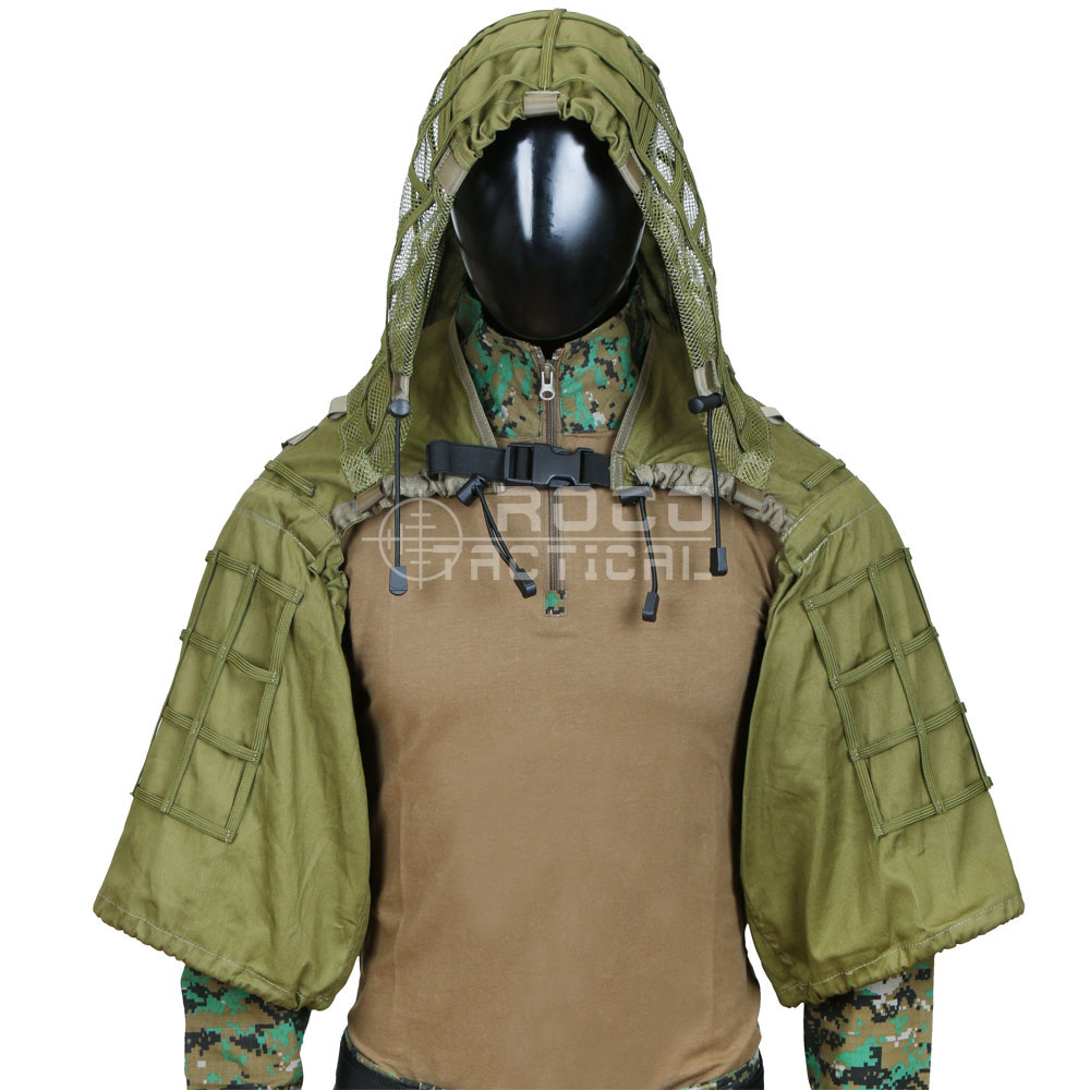 ROCOTACTICAL Military Sniper Ghillie Suit Foundation Lightweight Ghillie Hood Camouflage Military Sniper Airsoft Ghillie Jacket silk