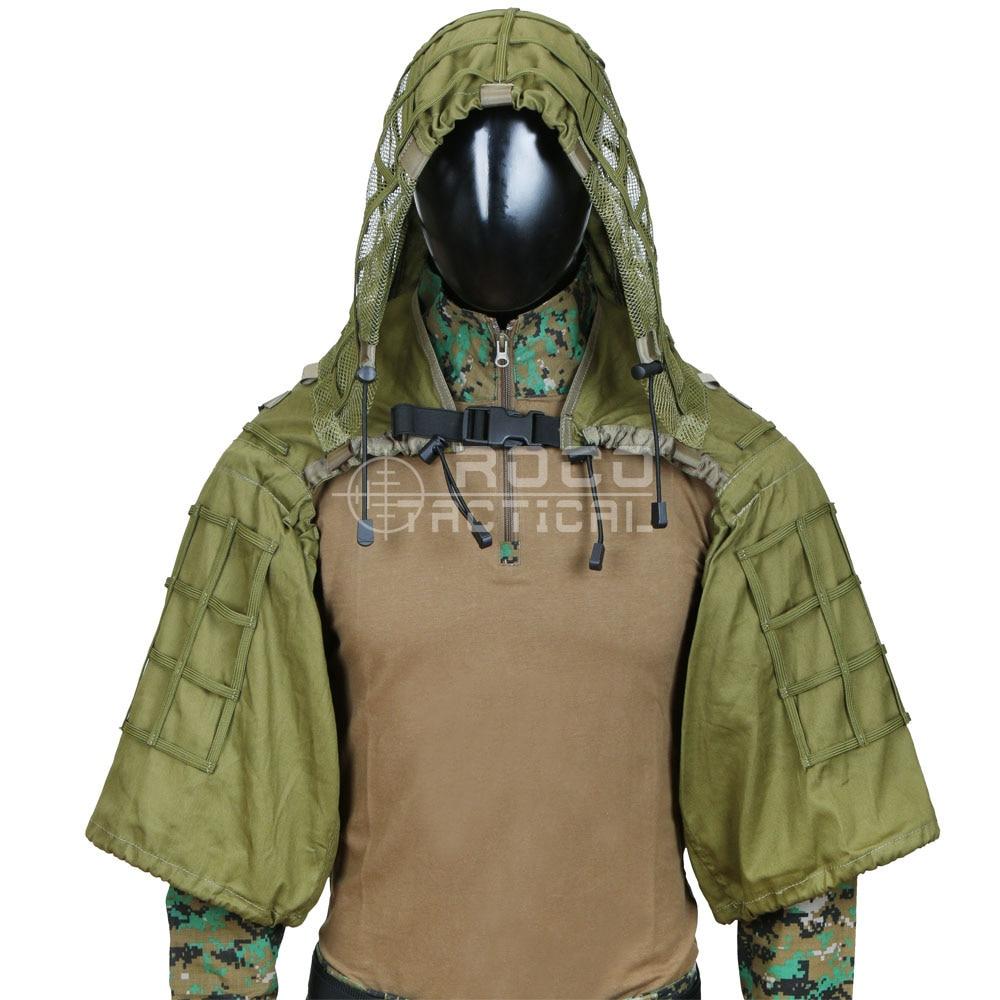 ROCOTACTICAL Militaire Sniper Ghillie Costume Fondation Léger Ghillie Capot Camouflage Militaire Sniper Airsoft Ghillie Veste