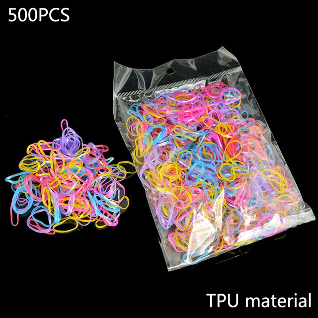About 500pcs/pack Ponytail Holder Elastic Hair Band Tpu Hair Holder Rubber Hairband Hair Accessories For Girls Rope Tie Gum