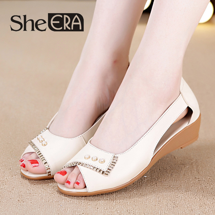 2018 Women Sandals Summer White Wedge Sandals Open Toe Genuine Cow Leather Sandalias Ladies Sandals Women Shoes