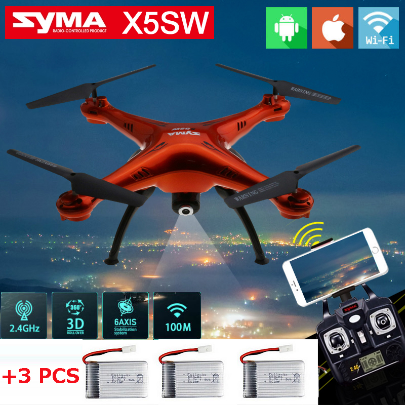 (With Three  Batteries) Syma X5SW 6-Axis WIFI RC Drone FPV Quadcopter with 2.0MP HD Camera 2.4G RTF Real Time X5SW-1 with two batteries yuneec q500 4k camera with st10 10ch 5 8g transmitter fpv quadcopter drone handheld gimbal case