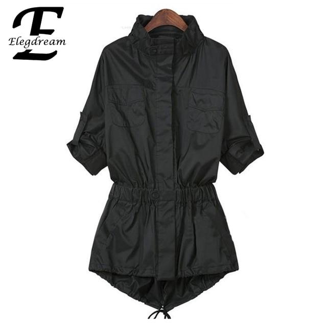 XXXXL Big Size Women Apparel 2016 Autumn New Fashion Trench Coat Lapel Sleeve Elastic Slim Waist Female Solid Outerwear Overcoat