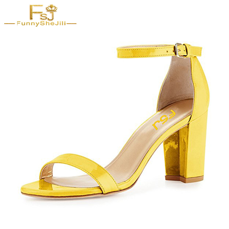 Yellow Women Shoes Ankle Strap Sandals Elegant Open Toe Chunky High Heels Retro Buckle Comfort Casual Size 11 FSJ Summer 2018 2018 new women sandals summer classic ankle buckle strap chunky sequins heels casual open toe black pink khaki zapatos mujer