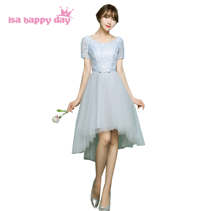 Girls Grey Pageant Dresses Bridesmaid High Low Short Front Long Back Dress Party Gown For 16 Year Olds With Sleeves H4078