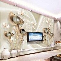 Custom 3d Modern Wallpaper Pearl And Butterfly Silk Luxury Wallpaper Bedroom Mural Background Wallpaper Home Decoration