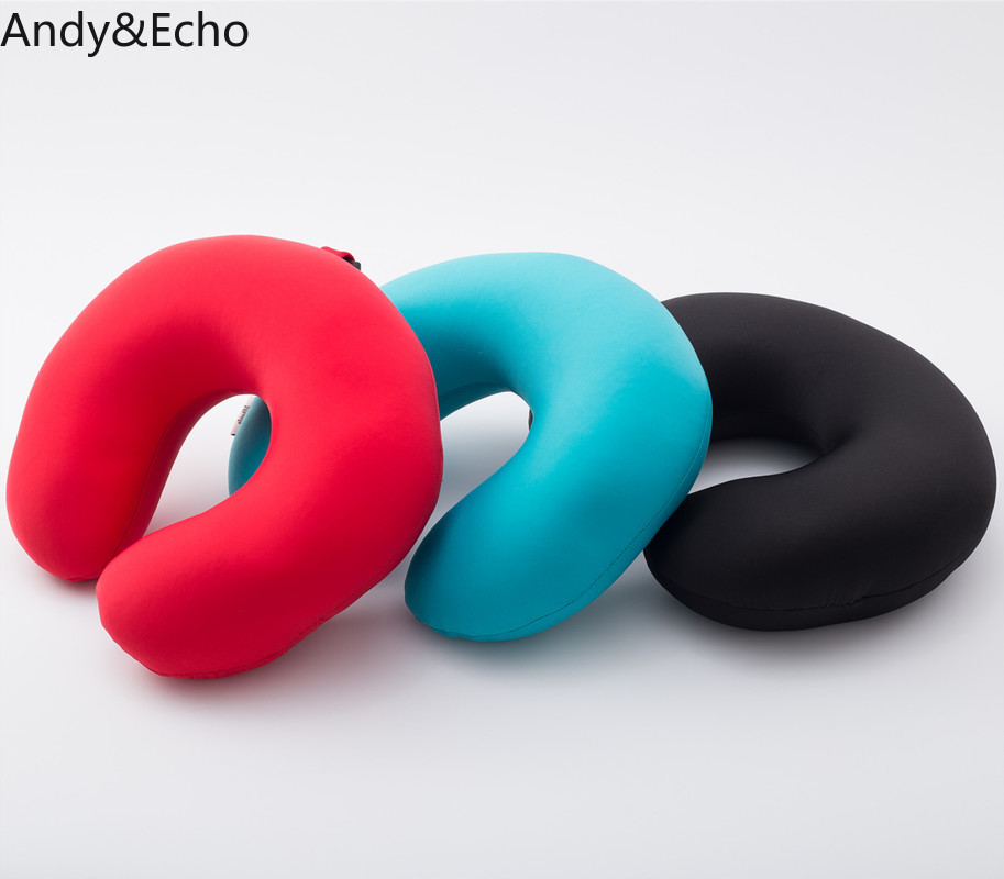 Solid Color Travel Neck Pillow U Shape Particle Foam Pillows Home Accessories for Airplane Car Office Bed Body Support Neck