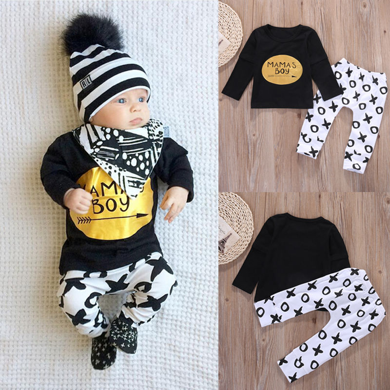 2pcs Newborn Baby Boys Clothes Set Gold Letter MAMAS BOY Outfit T-shirt Pants Kids Autumn Long Sleeve Tops Baby Boy Clothes Set infant baby boy girl 2pcs clothes set kids short sleeve you serious clark letters romper tops car print pants 2pcs outfit set