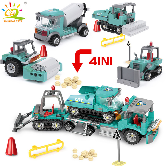 462pcs 4in1 Engineering Building Blocks Compatible City Truck Excavator Bulldozer Vehicle Construction Toys For Children