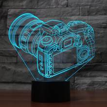 3D Trendy Camera Modelling Desk Lamp Baby Sleep Lighting 7 Colors Changing Night Light Creative LED Atmosphere Room Decor Gifts(China)