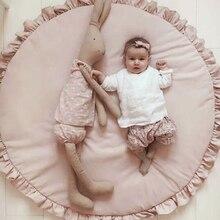 Nórdico bebê recém nascido acolchoado tapete de jogo tapetes algodão macio rastejando meninas jogo redondo tapete para crianças interior decoração do quarto