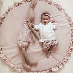 Nordic Neugeborenen Baby Gepolsterte Spielen Matten Weiche Baumwolle Kriechende Matte Mädchen Spiel Teppiche Runde Boden Teppich Für Kinder Innenraum decor