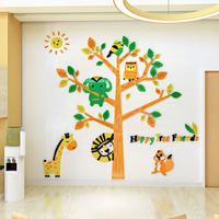 Cartoon Animal Lion Giraffe Squirrel Elephant 3D Stickers DIY Acrylic Stickers Kids Room Kindergarten Wall Decoration Home Decor