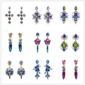 Женские винтажные серьги-капельки модные snoops, многоцветные висячие серьги с кристаллами