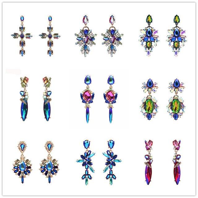 Pendientes largos de gota de estilo bohemio Vintage de FASHIONSNOOPS para mujer, Pendientes colgantes de cristal multicolor, regalos de colgante de estrella de lujo
