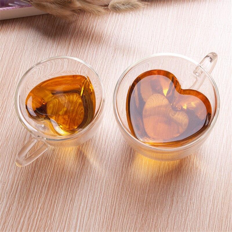 Corazón amor en forma de pared doble taza de vidrio resistente Kungfu té taza leche limón jugo taza bebedero amante tazas de café taza de regalo