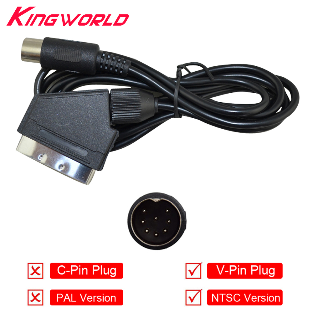 "10 vnt V-Pin kištukas NTSC JAV ""Scart"" kabelio garso vaizdo AV kabelis ""SEGA Mega"" diskui, skirtas ""Genesis 1"""