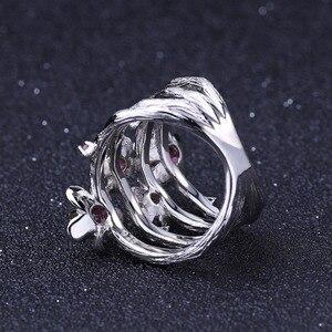 Image 4 - GEMS BALLET 925 Sterling Silver Handmade Ring 0.96Ct Natural Rhodolite Garnet Plum Blossom Flower Rings for Women Fine Jewelry
