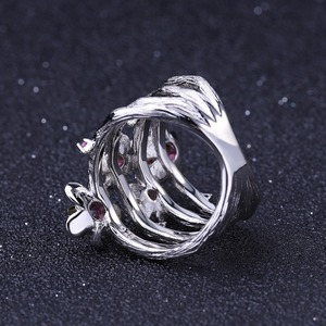 Image 4 - GEMS BALLET 925 Sterling Zilveren Handgemaakte Ring 0.96Ct Natuurlijke Rhodoliet Granaat Pruimenbloesem Bloem Ringen voor Vrouwen Fijne Sieraden