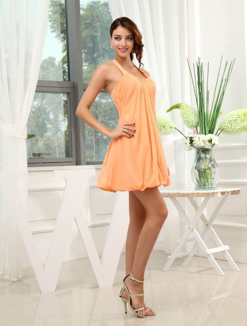 New Ruched Loose Sleeveless Halter   Bridesmaid     Dresses   Sexy Knee Length Candy Color Sweet   Dresses   for Wedding Party