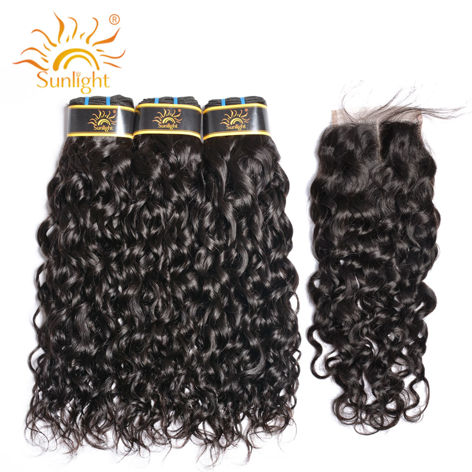 Sunlight Water Wave Human Hair Bundles With Closure Peruvian Hair Bundles With Lace Closure 4*4 Non Remy Hair Weave Bundles 1B#-in 3/4 Bundles with Closure from Hair Extensions & Wigs    1