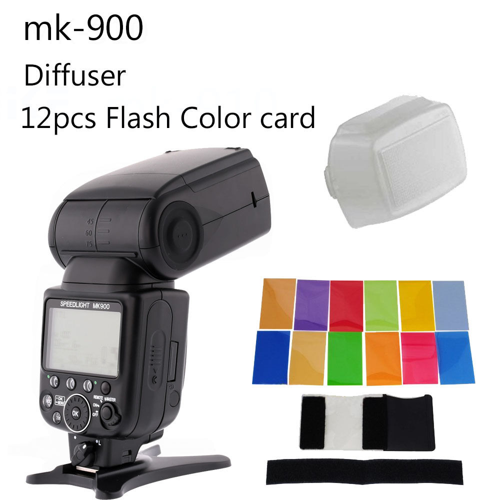 Meike MK-900 MK900 MK 900 iTTL Flash Speedlite as SB-900 For Nikon D7100 D750 D800 D810 D610 with a diffuser and 12 color filter storyfun for starters mov and flyers2ed movers2 sb
