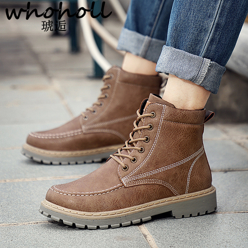 WHOHOLL Brand Men Boots Motorcycle Handmade Wing Genuine Leather Business Wedding Boots Casual British Style Wine Red Boots new fashion men boots motorcycle handmade wing genuine leather business wedding boots casual british style wine red boots 8111