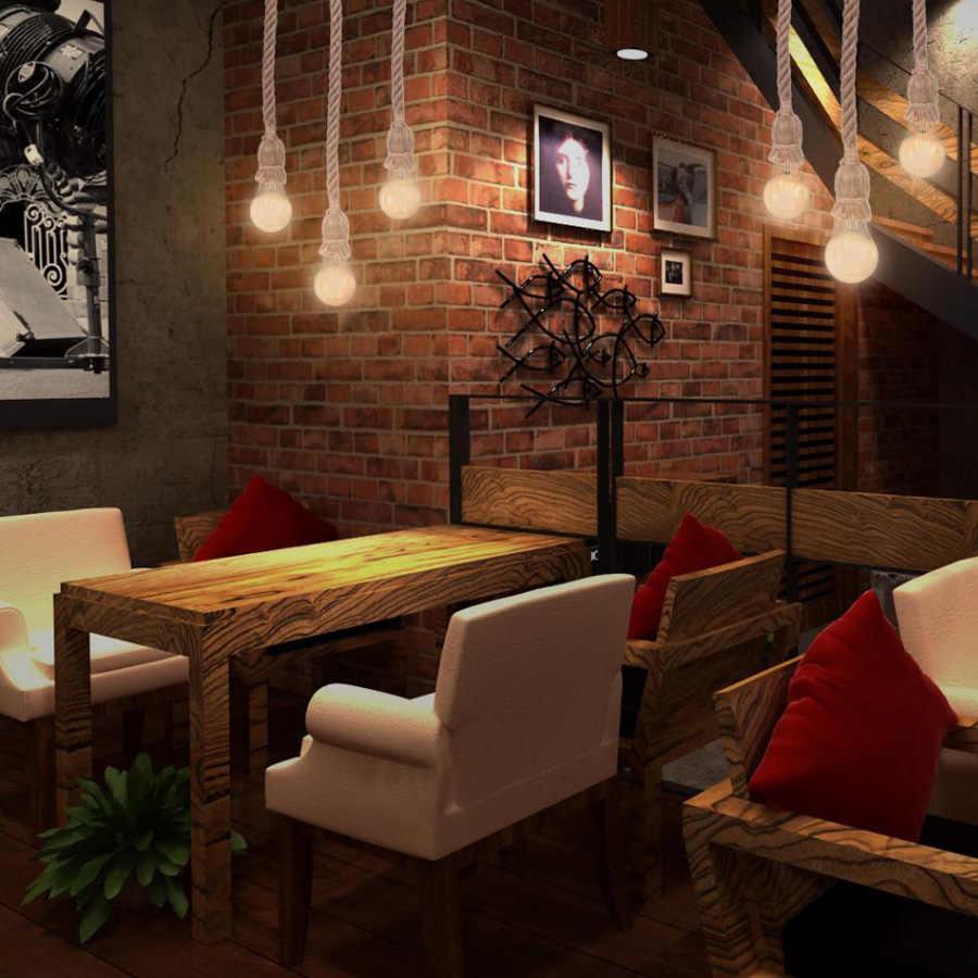 Винтаж пеньковая веревка Подвесные светильники Лофт Промышленные Стиль Классическая Освещение в помещении лампы DIY для Edison ЛАМПЫ E27 дюралайта Base