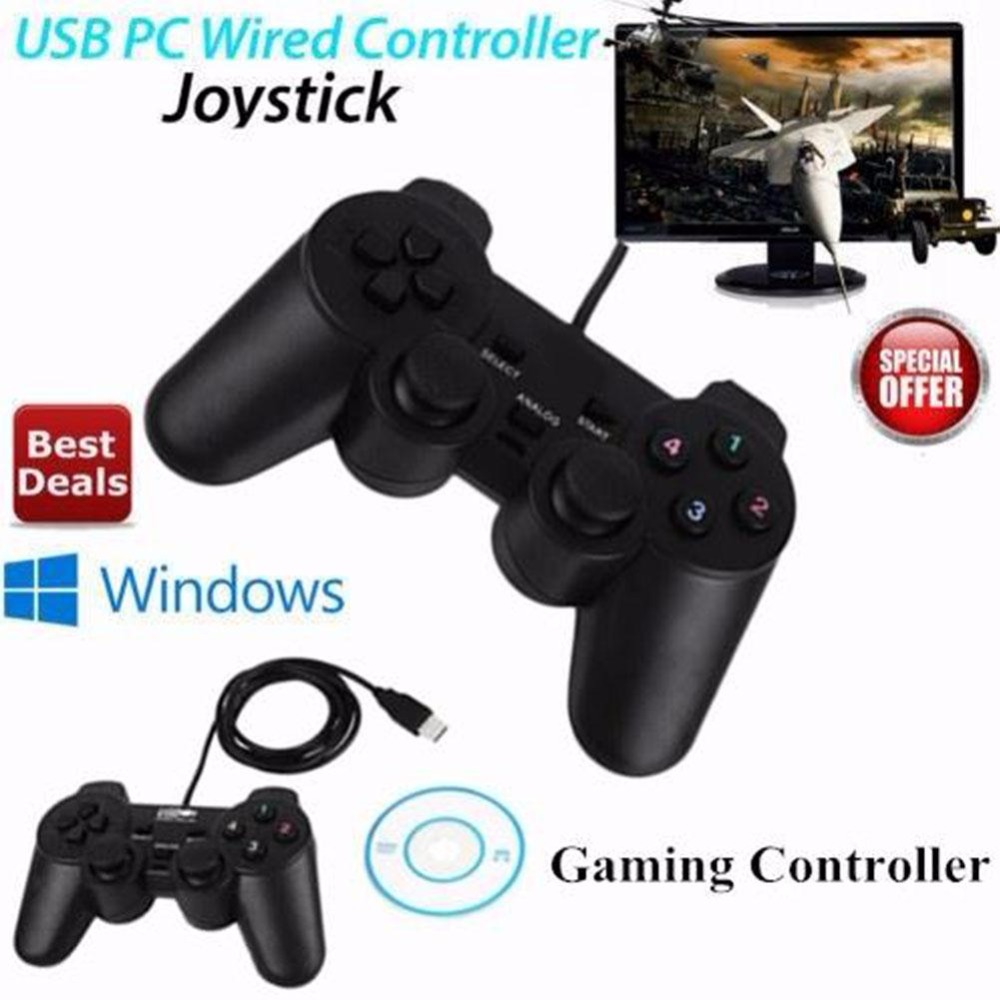 2 шт. проводной геймпад USB игровой контроллер игровой джойстик Управление для ПК компьютера ноутбука геймера черная игровая консоль мальчик...