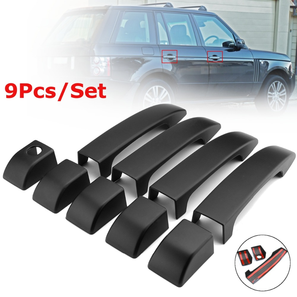 9pcs Matte Black Door Handle Covers Trim For Land Rover Range L322 2002 2003 2004 2005 2006 2007 2008 2009 2010 2011 2012 front right car fog light lr for land rover discovery 2 2003 2004 range rover 2006 2009 range rover sport lr3 2005 2009