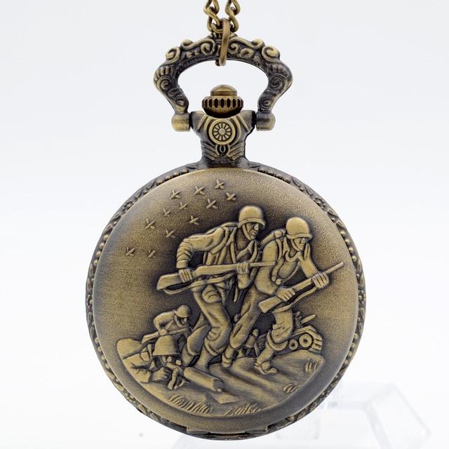 Bronze Vintage Brave Soldier Quartz Pocket Watch Pendant Necklace Chain Roman nu