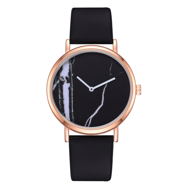 Fashion Creative PU Sport Simple Quartz Watches Women Concise And Easy Marble Di