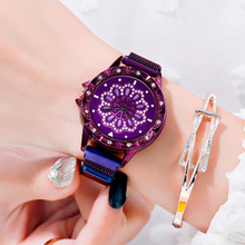 2019 Hot Luxury Diamond Women 360 Degree Rotation Watches Magnet Starry Sky Watch Fashion Geometric Quartz Wrist Lady Gift