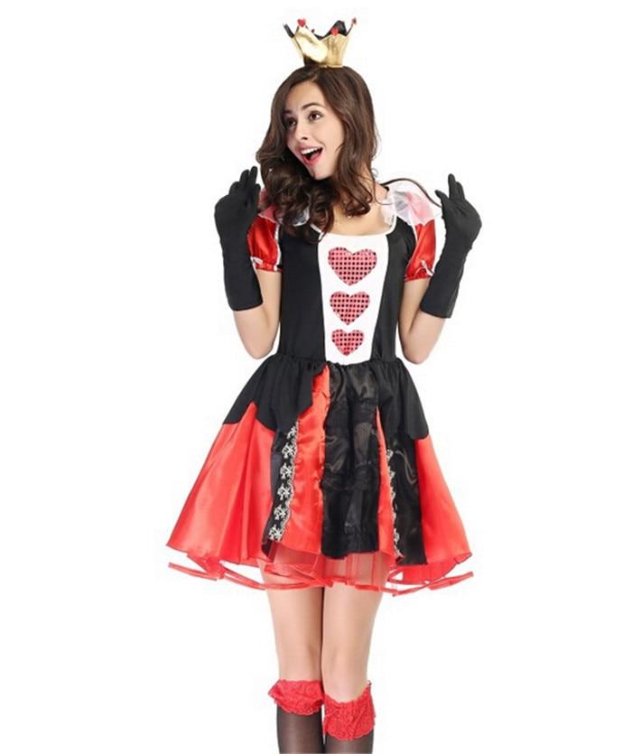 Adult Women Sexy Queen Of Heart Costume Halloween Movie Alice In Wonderland Red Queen Outfit