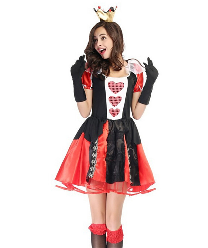 Adult Women <font><b>Sexy</b></font> Queen Of Heart <font><b>Costume</b></font> Halloween Movie <font><b>Alice</b></font> <font><b>in</b></font> <font><b>Wonderland</b></font> Red Queen Outfit image