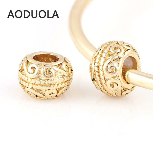 10 Pcs a Lot Big Hole Gold Color Column Alloy Beads Spring DIY Beads Chunky  European Charm Bead Fit For Pandora Charms Bracelet e59eb188ab5e
