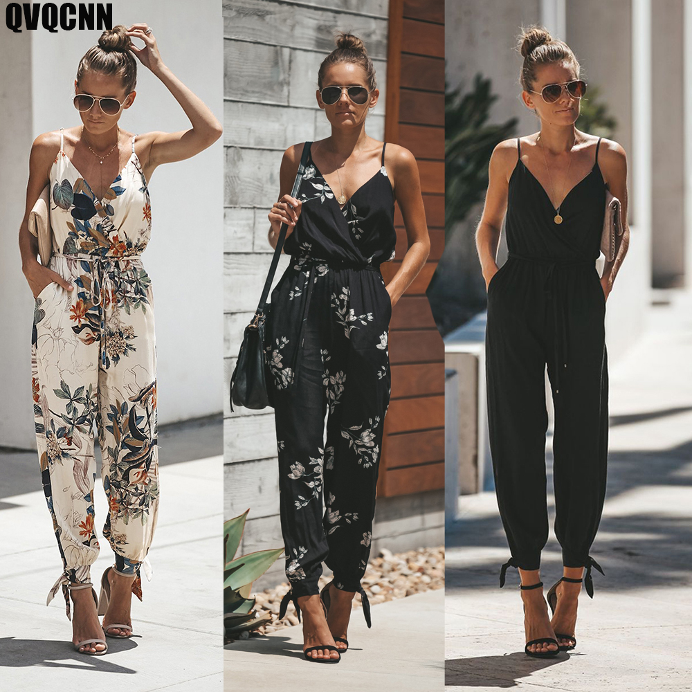Summer Spring Women Sexy Open Back Deep V-neck Sling Cotton Long Rompers Womens Jumpsuit Drawstring Flower Women Clothes
