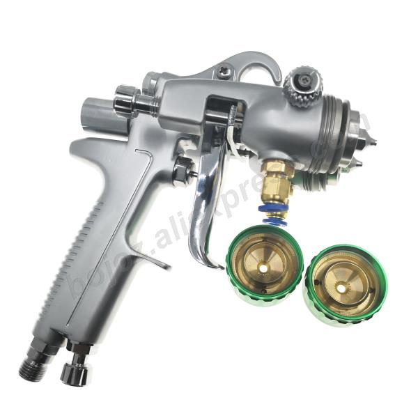 Image 2 - Double headed  1.3mm  spray gun pressure /siphon feed spray paint  chrome painting dual head Air pneumatic pressure sprayer-in Spray Guns from Tools on
