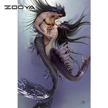 ZOOYA Diamond Painting People Mermaid Romance Love Rhinestone Cross Stitch Square Diamond Embroidery Sets Home Decoration F589