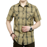 Summer Dress Men S Short Sleeve Shirt Plaid Style Green And Khaki Colors Plus Size M